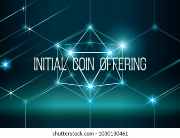 ICO vector illustration with glowing background. Initial coin offering in 3D hexahedron with glow. Futuristic and mystery vector illustration. IT startup crowdfunding.
