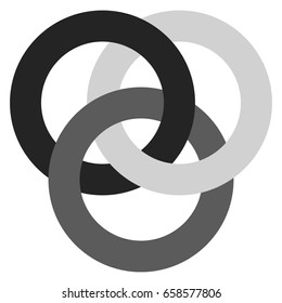 Icon with 3 interlocking circles. rings