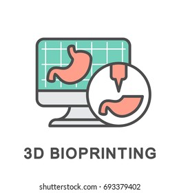 Icon 3D bioprinting. Modeling and creation of 3D models of human organs on a bioprinter. The thin contour lines with color fills.