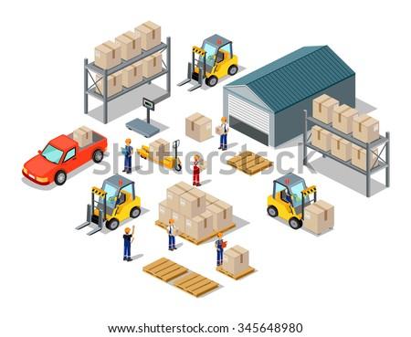 Icon 3 D Isometric Process Warehouse Warehouse Stock