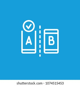 Icon of A/B testing. Modern devices, choice, result. Comparison concept. Can be used for topics like controlled experiment, research, statistical hypothesis testing