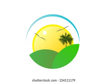 icon. Abstract landscape, sky, palm tree and sun