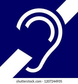 Icon of accessibility, hard of hearing, signal, ISO PI PF 048. vector.