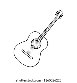 Icon of acoustic guitar. Thin line design. Vector illustration.