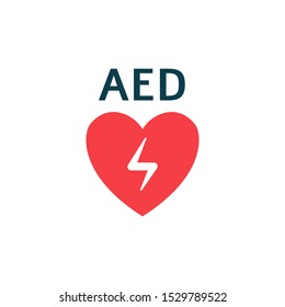 Icon with aed with red heart. Isolated flat vector illustration with aed heart and automated external defibrillator concept.