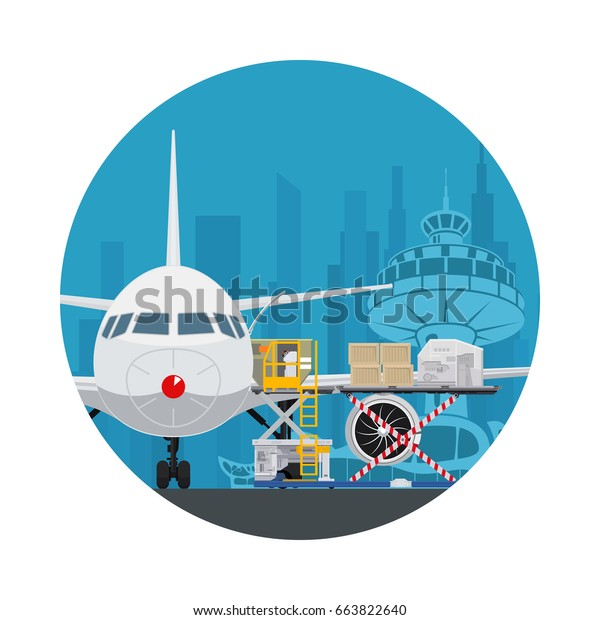 Icon Air Cargo Services Freight Airplane Stock Vector Royalty Free 663822640