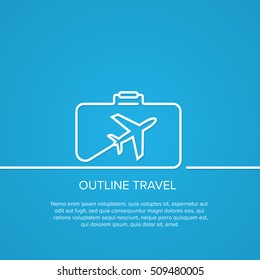 Icon airplane in suitcase. The concept of travel and vacation. Outline minimal image on blue background.