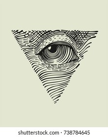 Icon of the all-seeing eye. The symbol of the Masons is the all-seeing eye in the triangle