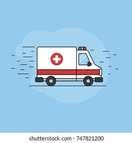 Icon of an ambulance on a blue background for a site