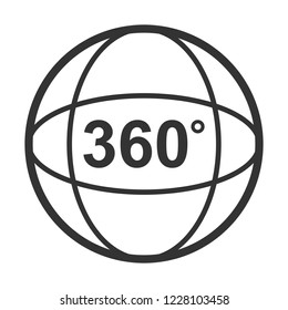 Icon of Angle 360 degrees video panaramic view symbol.