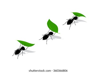 icon ant. A silhouette of black ants with green leaves