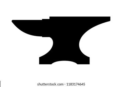 Icon anvil for blacksmith. Symbol blacksmith logo. Sign silhouette anvil. Heavy industry. Vector illustration