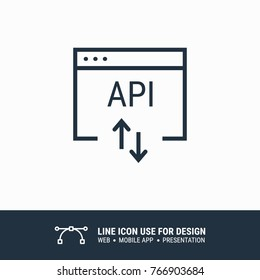 Icon api app application program window graphic design single icon vector illustration