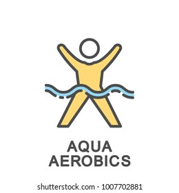 Icon aqua aerobics. Physical exercises in the water under musical accompaniment. The thin contour lines with color fills.