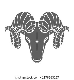 Icon aries. Symbol argali. Black sign head ram isolated on white background. Abstract flat vector illustration
