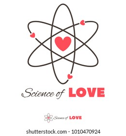 Icon of atom and heart shape. Love, science, chemistry, physics creative logo concept.