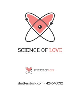 Icon of atom and heart shape. Love, science, chemistry, physics creative logo concept