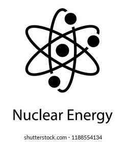 Icon of a atom revolving around nucleus depicting nuclear physics