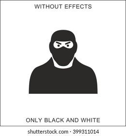 Icon attacker. Black and white.