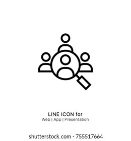 Icon audience find group magnifier  people search graphic design single icon vector illustration