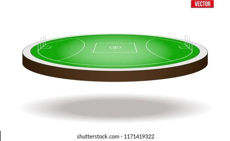 Icon of Australian rules football field stadium. Vector illustration isolated on background.