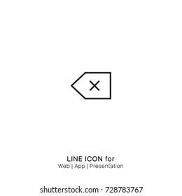 Icon back backspace delete keys remove graphic design single icon vector