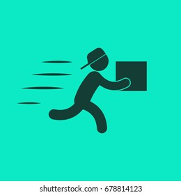 Icon, badge, delivery logo. Vector illustration of a silhouette of a running man with a box in a flat style.