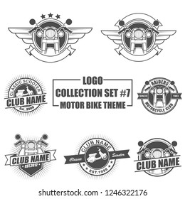 Icon, badge, emblem and logo template design with motorbike theme