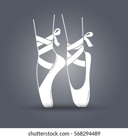 Icon ballerinas feet on pointes in a linear style. black and white illustration
