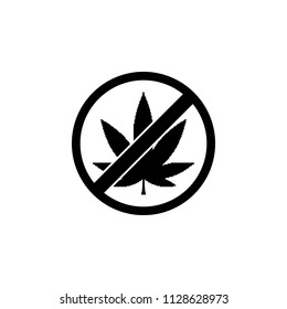 The icon of ban, prohibition, embargo, forbiddance marijuana, weed, ganja, Cannabis. Simple flat icon illustration, vector of marijuana, weed, ganja, Cannabis for a website or mobile application