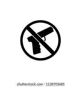 The icon of ban, prohibition, embargo, forbiddance gun, pistol, handgun, weapon. Simple flat icon illustration, vector of gun, pistol, handgun, weapon for a website or mobile application