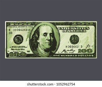 Icon banknote The US dollar. Image American money is a hundred dollars worth. Illustration American detailed 100 dollars bill