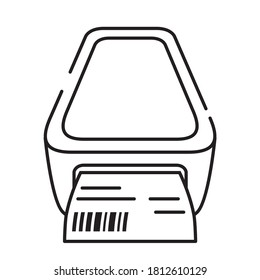 Icon bar code printer.Label printer Vector flat Check print.Cash machine.Outline line icon.Isolated on a white background.