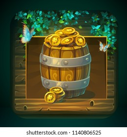 Icon barrel with gold coins for game user interface. Vector illustration to the computer game Shadowy forest GUI. Background image to create original video or web games, graphic design, screen savers.