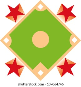 Icon of a baseball diamond with four stars