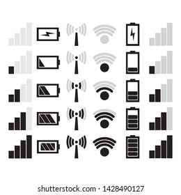 Icon battery charging, wifi and signal mobile. Icon battery power charge, wi-fi signal and connection level sign set. vector illustration.