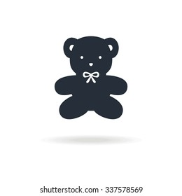 icon of bear toy. Icon for birthday  or another special day, for children shop. Vector illustration