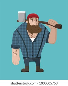 Icon of a bearded lumberjack with an ax in his hand. Man The woodcutter in a shirt in a cage.