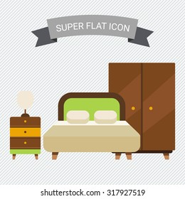 Icon of bedroom interior including double bed, wardrobe and bed cabinet with lamp