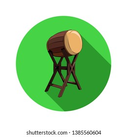 Icon Bedug Drum to awaken Sahur in the fasting month and call for prayer in Ramadan Style Flat Design green background - Vector