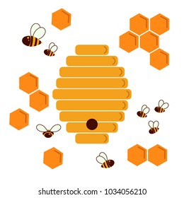 Icon bee hive and honeycomb. Hexagon natural honey structs and beehives. Vector illustration. Insects and honey. For infographics or web