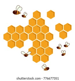 Icon bee honeycomb. Hexagon natural honey struct. Vector illustration. Insects and honey. For infographics or web