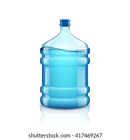 Icon big bottle with clean water. Plastic container for the cooler. Isolated on white background. Stock vector illustration.