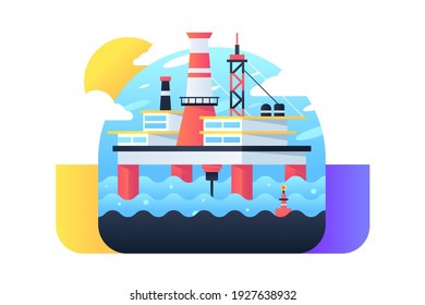 Icon of big oil rig at sea produces minerals for processing. Isolated concept symbol in web style modern machine at blue water mining resources. Vector illustration.