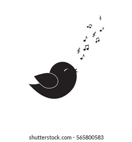 Icon bird sings a song from the musical notes. Vector illustration on white background.