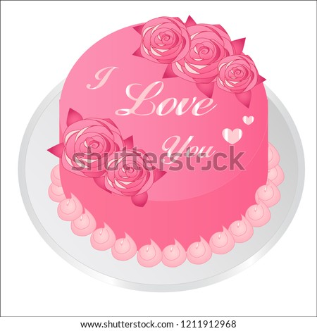 Icon Birthday Cake Heart Shape Background Stock Vector Royalty Free