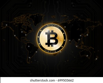 Icon of Bitcoin. A realistic Bitcoin coin on the background of the  world map. Modern cryptocurrency. Vector illustration.