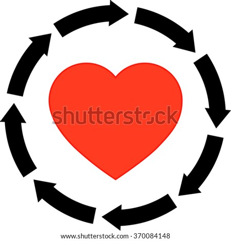 Icon Black Arrow Icon Red Heart Stock Vector Royalty Free