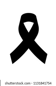 Icon Black awareness ribbon on white background. Mourning symbol. RIP Funeral card Black Ribbon Background Vector