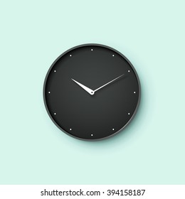 Icon of black clock face with shadow on menthol wall background. Vector Illustration